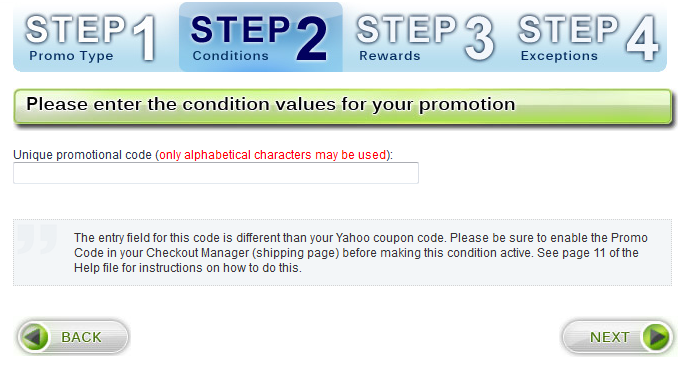 Step 2 - Conditions - Promo Code