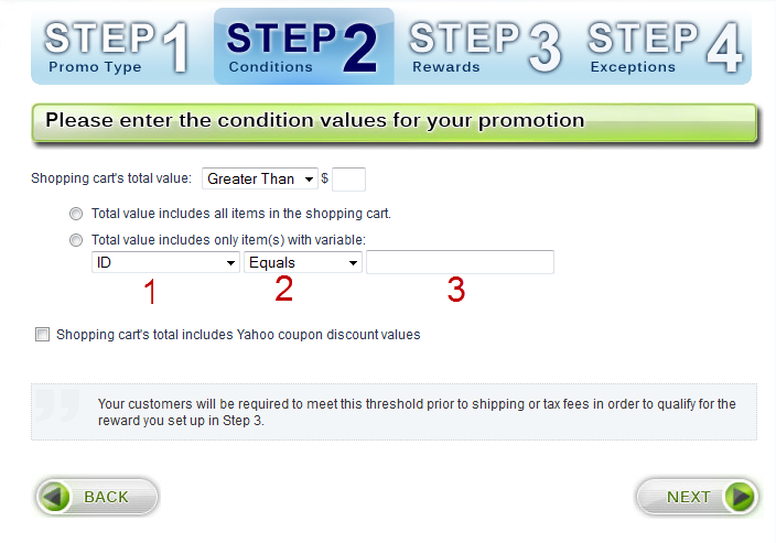 Step 2 - By Cart Value